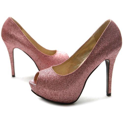Ollio Women's Shoe Glitter Stiletto Platform Peep Toe High Heel Pump