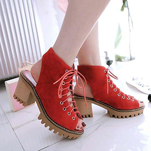 COOLCEPT Mujer Moda Cordones Sandalias Punta Abierta Tacon Ancho Talon Abierto Zapatos Rojo