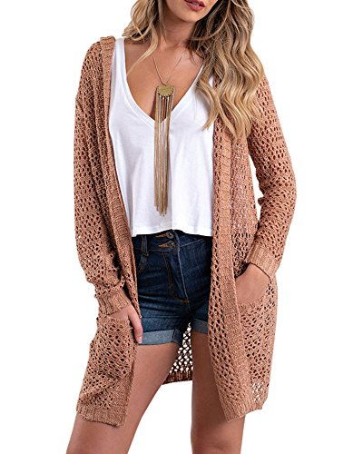 (Sherrylily Womens Loose Open Front Knit Hooded Long Cardigans Casual Full Sleeve Pocket Sweater Coats)