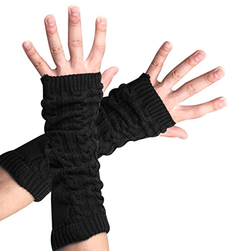 flammi-women-cable-knit-arm-warmer-fingerless-gloves-thumb-hole-gloves-mittens-1-pairblack-