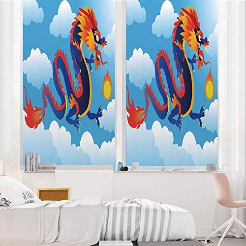 Dragon 3D No Glue Static Decorative Privacy Window Films, Surreal Folk Tale Creature Spitting Fire on Clouds Chinese Cartoon Art Decorative,17.7
