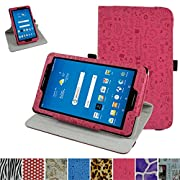 AT&T Trek 2 HD Rotating Case (Model 6461A),Mama Mouth 360 Degree Rotary Stand With Cute Lovely Pattern Cover For 8  AT&T Trek 2 HD 8 inch 4G LTE Android Tablet 2016,Rose Red