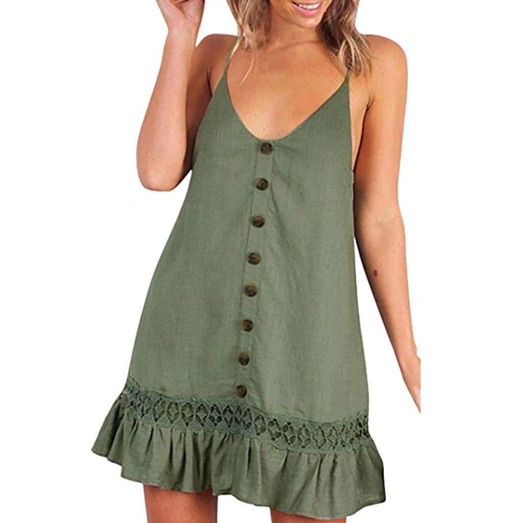 HTDBKDBK Womens Solid Color Casual Button Ruffle Summer Vacation Style V-Neck Sling Dress Green