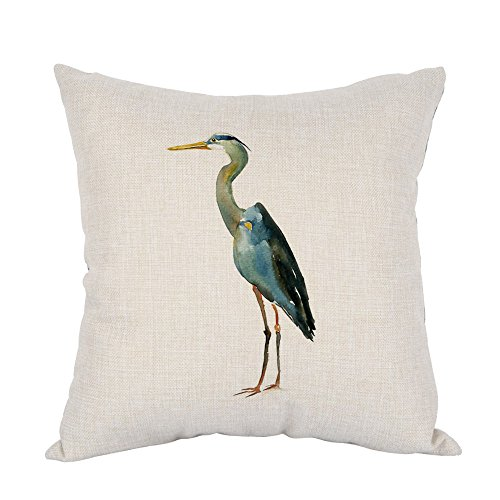 Case Heron Blue - Moslion Heron Pillow,Home Decorative Throw Pillow Cover Watercolor Blue Heron Cotton Linen Cushion for Couch/Sofa/Bedroom/Livingroom/Kitchen/Car 18 x 18 inch Square Pillow case