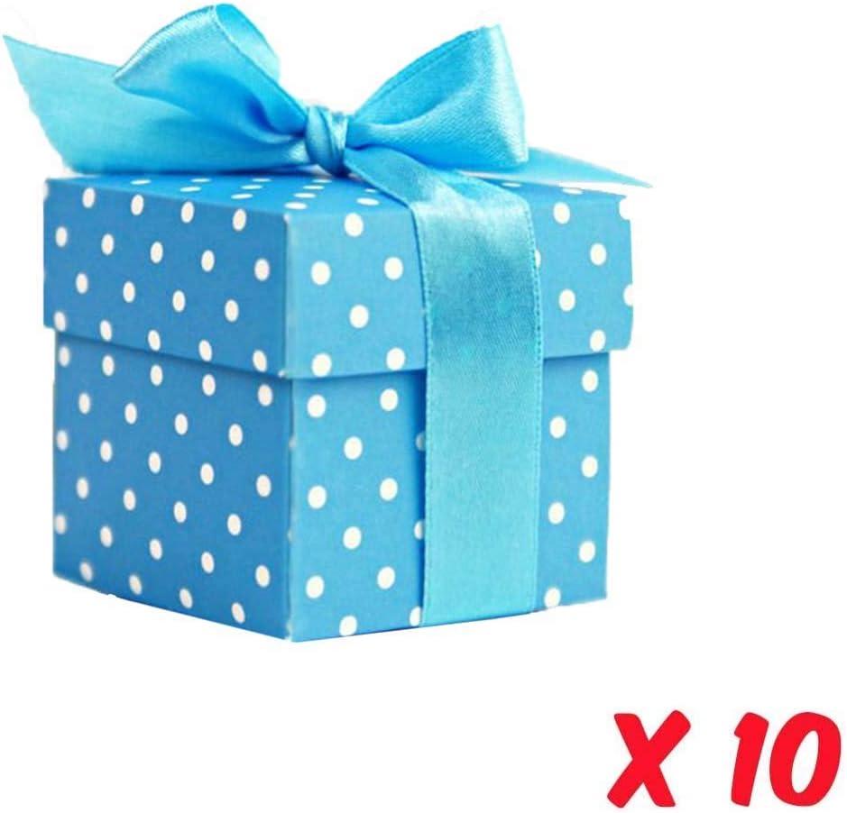 Lage Scatoline Porta Confetti Segnaposti Battesimo Nastro di Raso Azzurro Confezione da 10 Pezzi Ideale per Matrimonio Bomboniere Nascite Carta Azzurra con Pois Bianchi