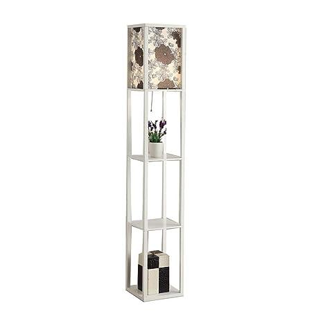 Amazon.com: Lámpara de pie moderna de tela de madera blanca ...
