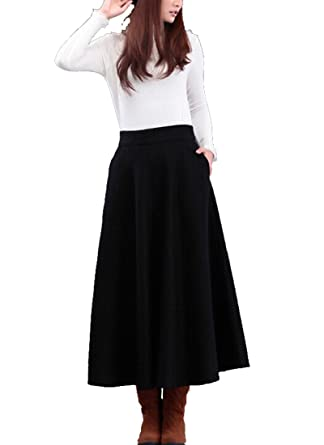 Medeshe Women's Black Winter Cashmere Wool Maxi Long Skirt at ...