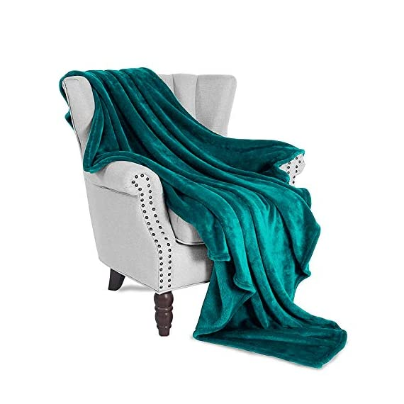 "Exclusivo Mezcla Luxury Flannel Velvet Plush Throw Blanket – 50"" x 60"" (Teal) - 280GSM FLANNEL FLEECE- The flannel fabric we choose is originally made from 100% microfiber polyester and brushed to create extra softness on both sides, the throw is designed to be simple but elegant. DURABILITY- The throw we offered is designed to be simple but elegant, this plush throw is super soft, durable, warm and lightweight. It's wrinkle and fade resistant, doesn't shed, and is suitable for all seasons. DECORATIVE- Throw features a velvet touch softness and rich and inviting designs, featuring a double-faced plush with graceful luster. Easily coordinates or enhances existing bedding or home décor. - blankets-throws, bedroom-sheets-comforters, bedroom - 51b95%2BiYuTL. SS570  -"