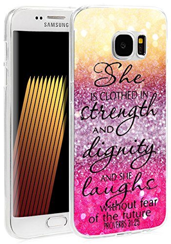 S7 Edge Case Christian Theme - Case for Galaxy S7 Edge - Cover Compatible for Samsung S7 Edge - Bible Verses Words Print (Flexible TPU Protective Silicone) (Samsung S7 Edge Best Themes)