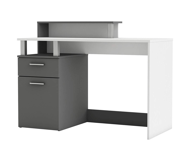 Habeig Bürotisch Office  890 Computertisch Schreibtisch Tür Schubkasten, Holzfurnier, Weiß Graphite Grau