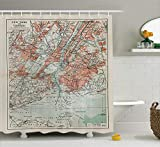 Ambesonne NYC Decor Collection, New York Old Map From The End of 19th Century Antiques History Historical Symbol , Polyester Fabric Bathroom Shower Curtain Set with Hooks, Coral Green Beige