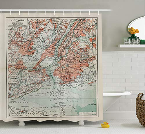 Ambesonne NYC Decor Collection, New York Old Map From The End of 19th Century Antiques History Historical Symbol , Polyester Fabric Bathroom Shower Curtain Set with Hooks, Coral Green - Antique Nyc