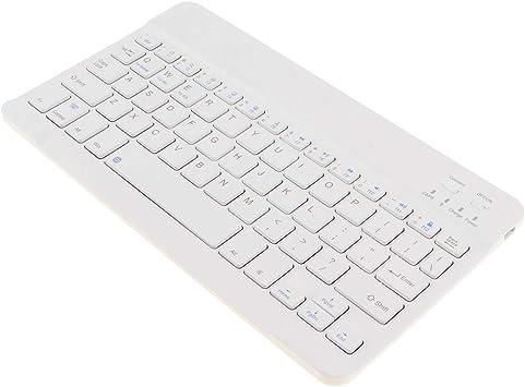 Sharplace Teclado Inalámbrico Bluetooth Delgado para iMac iPad Teléfono Android 7/9 / 10.1 Pulgadas - Blanco de 9 Pulgadas