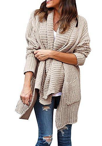 KunLunMen Womens Loose Long Sleeve Open Front Knit Sweater Cardigan Outwear with Pocket (X-Large, Khaki)