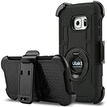 ULAK [Heavy Duty] Shockproof Heavy Duty Protection Hybrid Rugged [Kickstand Feature] [Belt Swivel Clip]- High Impact Resistant Rubber Three Layer Holster Full Body Protective Hybrid Case Cover with Belt Swivel Clip for Samsung Galaxy S6 Edge (2015) Black + Black