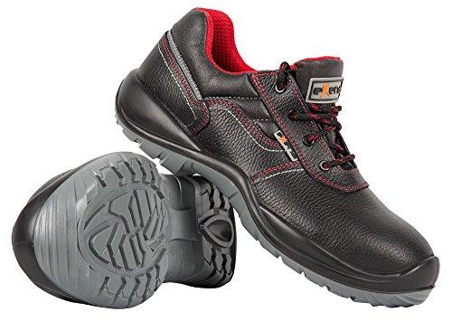 Stenso Sicilia S3® - Chaussures de Sécurité Basses - Cuir Imperméable - Embout Souple/Pas en Acier - Noir