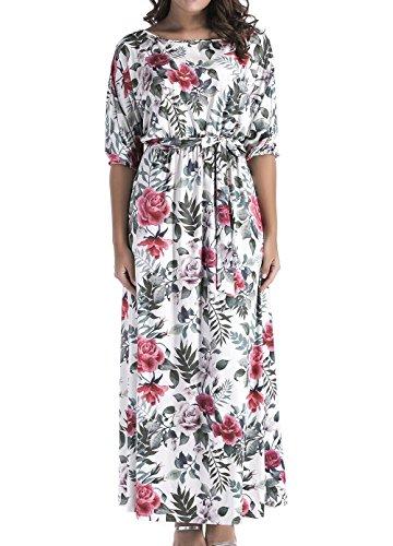 Frühling und Herbst Damen Große Größe Lange Kleid Casual Blumen ...