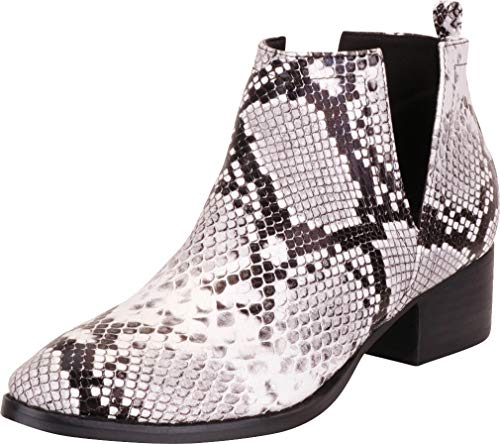 Cambridge Select Women's Western Pointed Toe Side V Cutout Chunky Block Low Heel Ankle Bootie,10 B(M) US,White/Black Snake PU