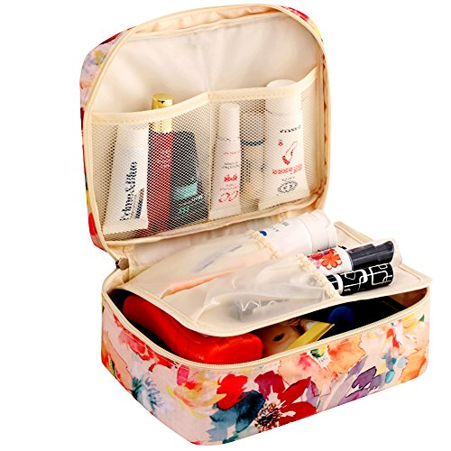 HiDay Travel Cosmetic Bag Toiletry Organizer Floral Makeup Pouch–Perfect for Your Cheerful Travel