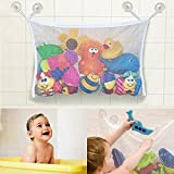 Baby/Toddler Bath Tub Toys Organizer - New Design 4 Suction Cups + 2 Extra Strong Suction Cups! Large Storage/Bag for Toys Even as a Shower Caddy! Mold Free Playtime for Bathtime!