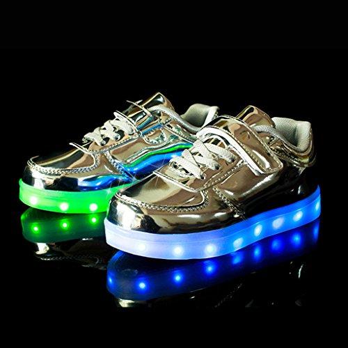 DoGeek Zapatos LED Niños Niñas 7 Color USB Carga Deportivas De Luces Zapatillas(Mejor Pedir Una Talla Más) Plateado
