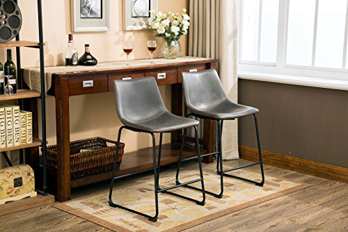 Roundhill Furniture PC185GY Lotusville PU Leather Vintage Counter Height Stools, Antique Set of 2, Gray (Gray Leather Counter Stools)