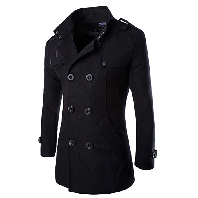 Mens Winter Stylish Fashion Classic Slim Fit Trench Coat ...