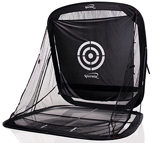 Spornia SPG-5 Golf Practice Net (3 in 1 Bundle) - Automatic Ball Return System W/ Target sheet,Two Side Barrier w/ Heavy Hitting Turf Mat w/ Chip Net Basket by Spornia (Image #1)