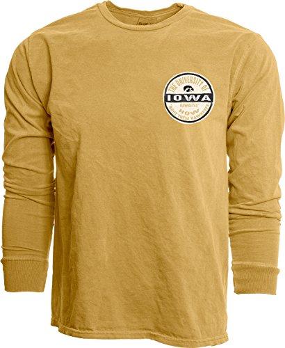 NCAA Iowa Hawkeyes Adult Unisex NCAA Dyed Ringspun Longsleeve Tee,x Large,Mustard Iowa Hawkeyes Tailgate