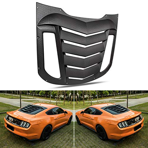 (Rear Window Louvers for Ford Mustang 2015 2016 2017 2018 Matte Black ABS Window Visor Sun Shade Cover)