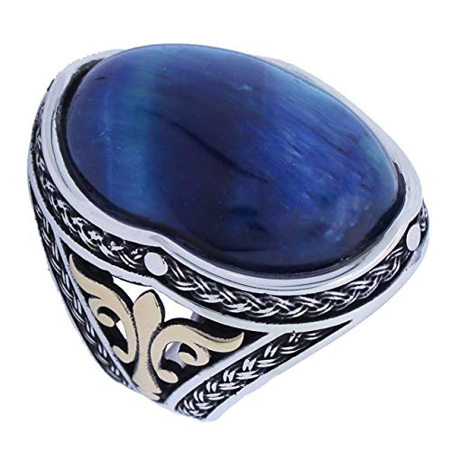 mysilverworld Solid 925 Sterling Silver Oval Blue Tiger