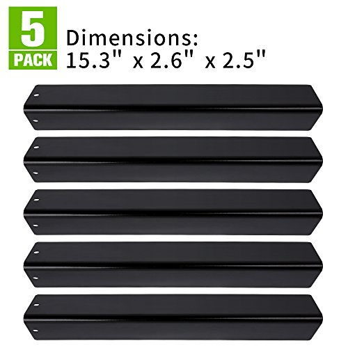 XHome Replacement Flavorizer Bar Porcelain Steel Grill Heat Plate for Weber Spirit 300 310 320 E310 E320 Series Gas Grill (with Front Controls), KLW-OO7 (15.3 x 2.6 x 2.5) (5 Pack)