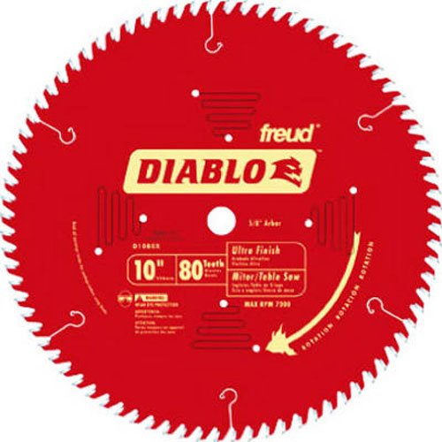 Freud D1080X Diablo 10-Inch 80-tooth ATB Finish Saw Blade with 5/8-Inch Arbor and PermaShield (80t Atb Thin)