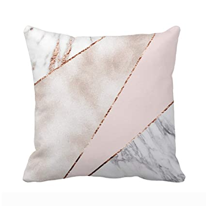 952de6fc4f0 UOOPOO Spliced Mixed Rose Gold Marble Throw Pillow Case Square 16 x 16  Inches Soft Cotton