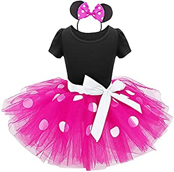 Kid Baby Girls Polka Dot Dress Princess Fancy Ballet Dance Tutu Birthday Wedding Carnival Christmas Costume with Mouse Ear Headband Festival Party Outfit 12 Months 8 Years