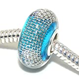 """Solid 925 Sterling Silver """"Blue Background with Mesh Metal Stripe"""" Glass Charm Bead for European Snake Chain Bracelets"""