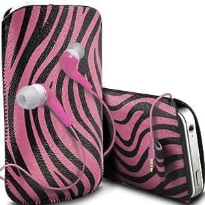 ONX3 Huawei Ascend P6S PU Leather Slip protectora Zebra de cordón en la bolsa del lanzamiento rápido con 3.5mm MP3 en la oreja los auriculares ergonómicos (Baby Pink)