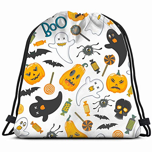 Funny Halloween Characters Sweets Abstract Holidays Drawstring Backpack Gym Dance Bags For Girls Kids Bag Shoulder Travel Bags Birthday Gift For Daughter Children Women -