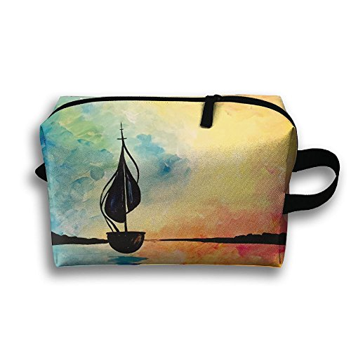 Sunset A Leaf Boat Painting Travel Bag Toiletries Bag Phone Coin Purse Cosmetic Pouch Pencil Case Tote Multifunction Organizer Storage Bag