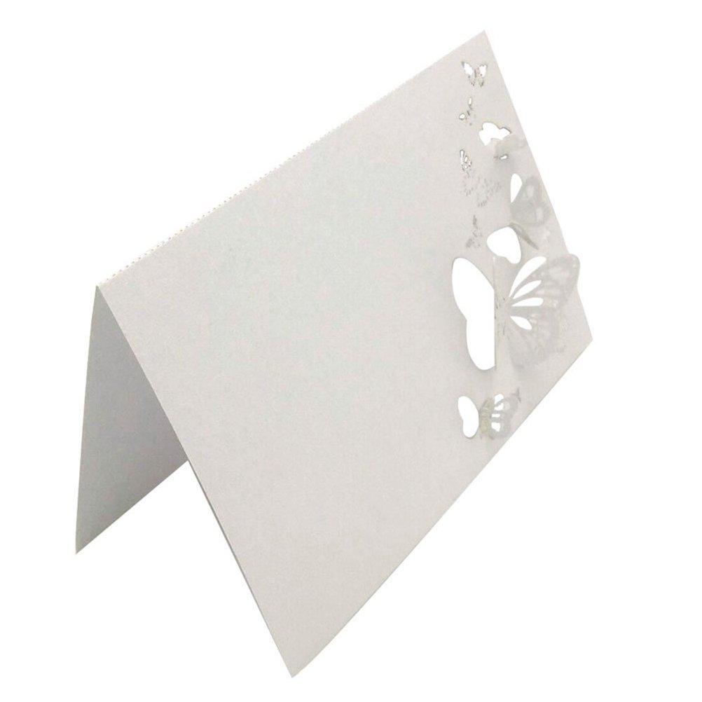 ROSENICE 50pcs Cartes de Nom Marque Place Decoration de Table pour Mariage, Anniversaires - Style papillon creux (blanc)