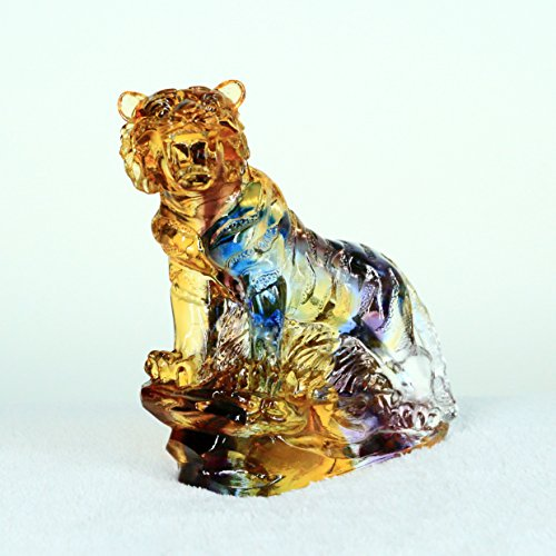 12 Zodiac – Tiger, Pure Handmade Colored Glaze Liuli Crystal, Collectible Glass Art, A Classic Gift from Oriental.Feng Shui Products,Tiger Statue