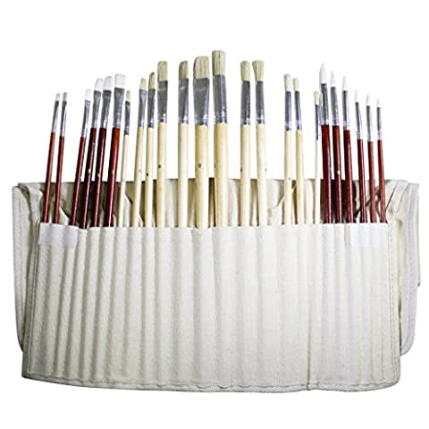 24 Piece Set of Fine Art Paintbrushes by Kurtzy - Large Artists Paint brush set in a Canvas Storage Case Ideal for use with Oil Acrylic or Watercolour Paints. Best Kit for Beginners and Professionals