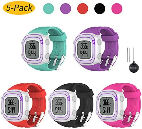 Watbro Watch Band Compatible with Garmin Forerunner 10 Forerunner 15 Running Watch, Soft Silicone Replacement Wristband for Garmin Forerunner 10 15 Smart Watch Women Men