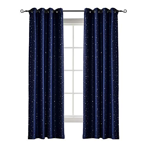 Jaoul Night Sky Twinkle Star Kids Blackout Curtains, Grommet Top Window Drapes for Bedroom, 1 Panel, 52x63 Inch, Navy Blue