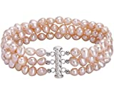 Cultured Freshwater Pink Pearl 3 Row Bracelet 925 Sterling Silver Slide Lock Clasp 7.5'' for Girls Women