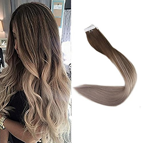 Surprise 22 Inch 40 Pcs 100 Gram Per Package Ombre Tape Hair Extensions Human Remy Hair Color 4 Fading To 18 Ash Blonde Balayage Dip Dye Tape Hair Extensions Real