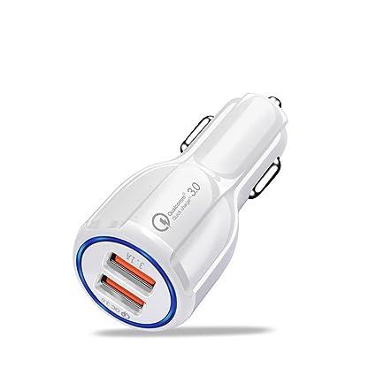 Crewell Quick Charge 3.0 - Cargador de Coche (2 Puertos USB, Qualcomm QC, Adaptador de Carga Rápida)