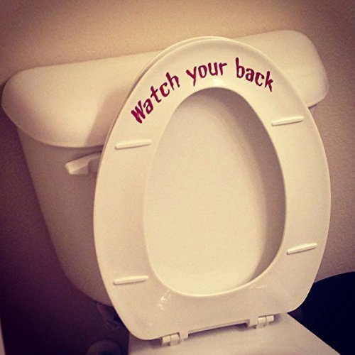 Watch your back funny replacement for put me down decal for Bathroom Toilet Seat Vinyl Decal Sticker Sign Reminder for Him - Gag gift