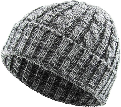 KBW-245 LGY Heather Color Thick Cable Knit Beanie Skull Cap Unisex Winter Hat