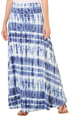 Womens Juniors Tie Dye - Poof Juniors Paneled Tie Dye Maxi Skirt Small Periwinkle Blue/White